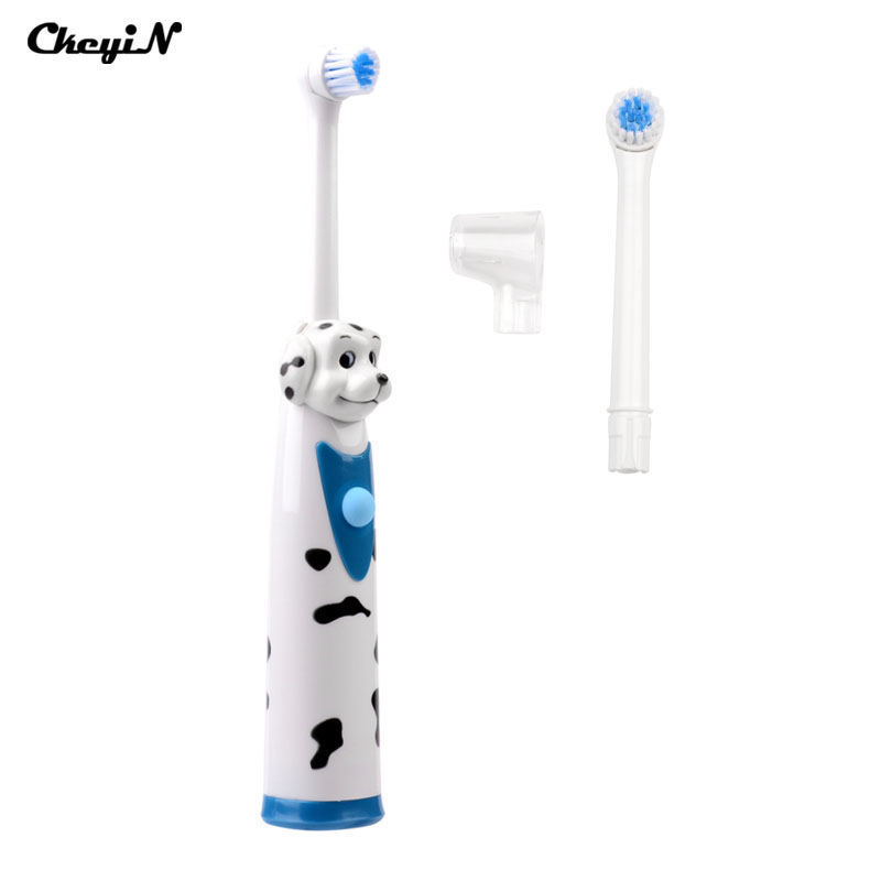 Children Cartoon dog Battery Operated Electric Toothbrush Child Waterproof Kid  Hygiene Dental Care +2pcsTeeth Brush heads ultra soft children kids cartoon toothbrush dental health massage 1 replaceable head outdoor travel silicone retractable folding