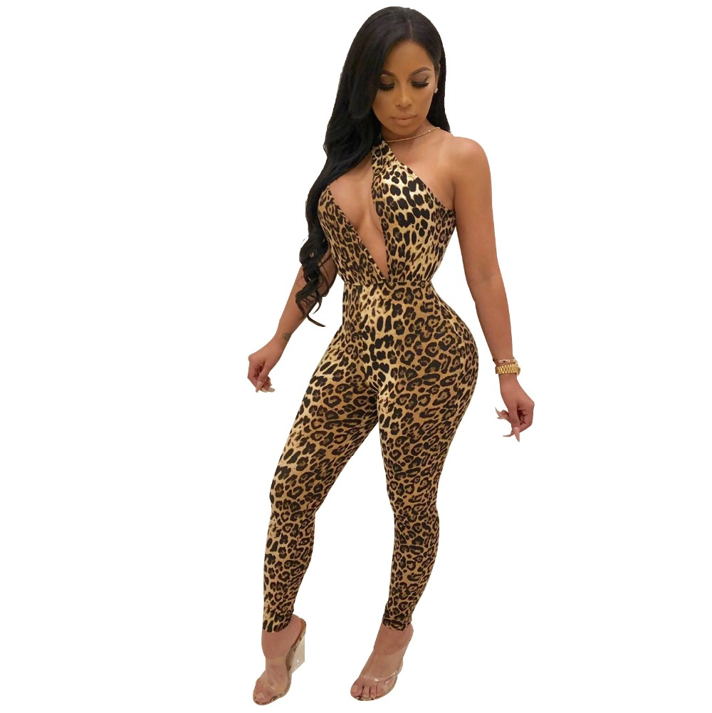 Leopard Print Women Sexy Jumpsuit Irregular One Shoulder Sleeveless Skinny Pants Romper High Stretchy Night Club Cut Out Overall