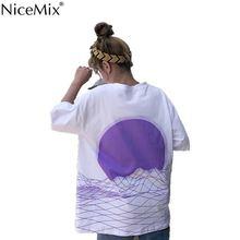 NiceMix Women T Shirt Casual Harajuku Cotton Female T-shirt Printed Mountain Fashion Loose Tops Summer Tee 23030 цена
