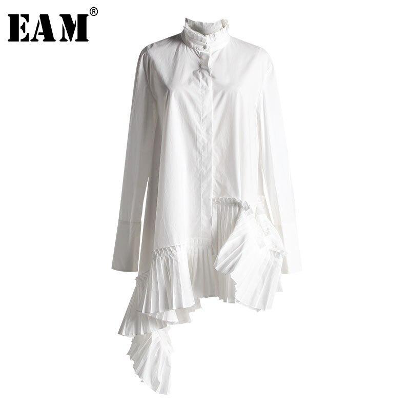 [EAM] 2019 New Autumn Winter  Stand Collar Long Sleeve White Loose Irregular Hem Pleated Loose Shirt Women Blouse Fashion JI824