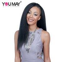 Итальянский яки Full Lace человеческих волос парики предварительно сорвал 130% Braziian натуральная волос парики для Для женщин парики из натуральны