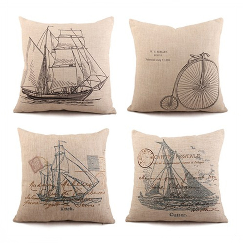 Retro Cotton Linen Pillowcase Sailboat Cushion Cover Pillowcase For Sofa Home Decor F