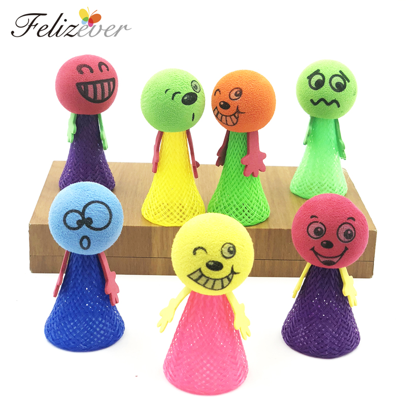 12PCS Jumping Doll Kids Party Toys Party Favors Goodie Bag Piniata Fillers Novelty Toy Emoji Face Gift Toys Boy Girl Fun Games in Party Favors from Home Garden