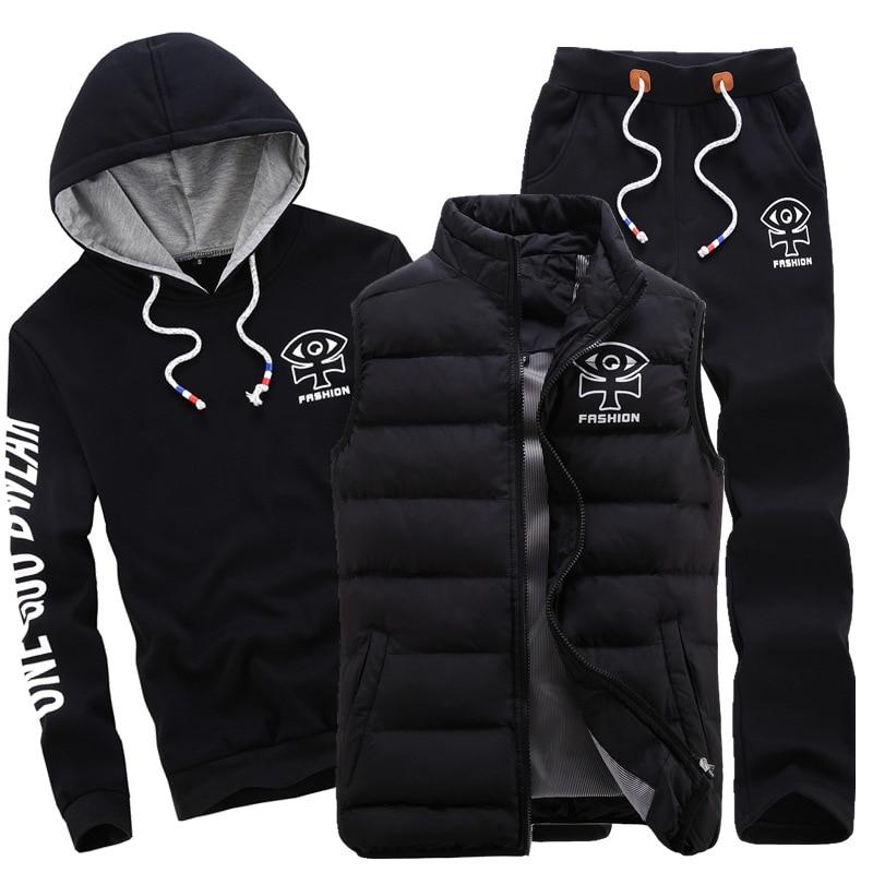 AmberHeard 2019 Fashion Winter Sporting Suit Men Set Hoodie+Vest+Pants Sportswear 3 Piece Sweatshirt Coat Tracksuit S Clothes