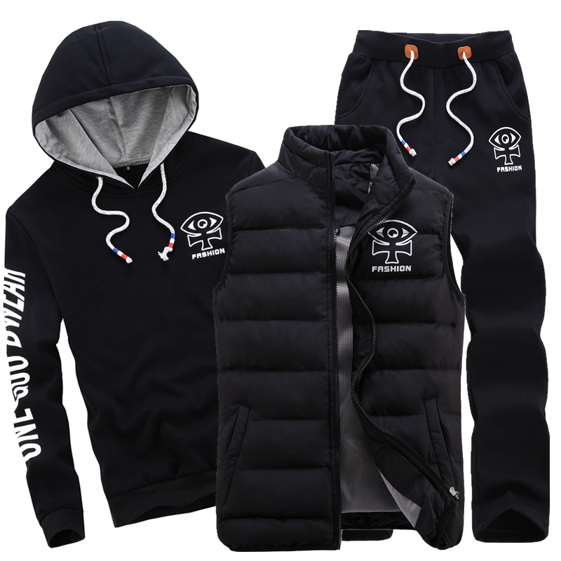 Amberulu 2019 mode hiver sport costume hommes ensemble à capuche + gilet + pantalon Sportswear 3 pièces sweat-shirt manteau survêtement S vêtements