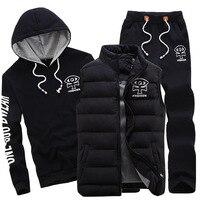 AmberHeard 2017 Fashion Winter Sporting Suit Men Set Hoodie Vest Pants Sportswear 3 Piece Sweatshirt Coat