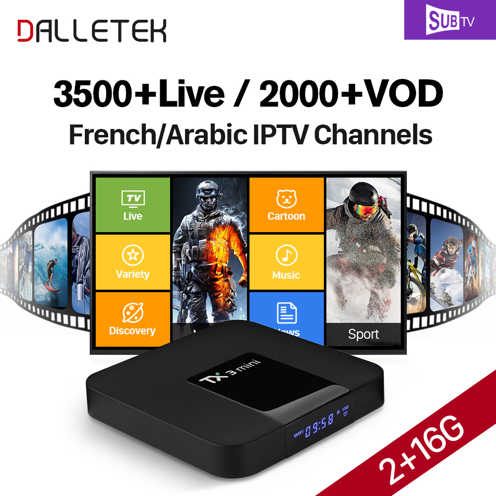 Full HD French IPTV Box SUBTV Code 3500+ IPTV Europe French Turkish Arabic 4K H.265 TX3 mini Smart TV BOX 2GB/16GB Android 7.1 dalletektv mag 250 smart iptv hd set top box iptv box linux arabic iptv subtv 3500 channels europe french tv receivers