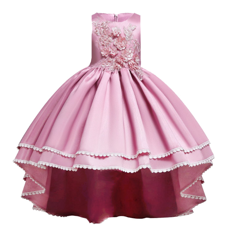 High Quality Trailing Wedding Flower Girls Baby Costume First Communion Dress Ball Gown Kids Pageant Clothes Children Clothing
