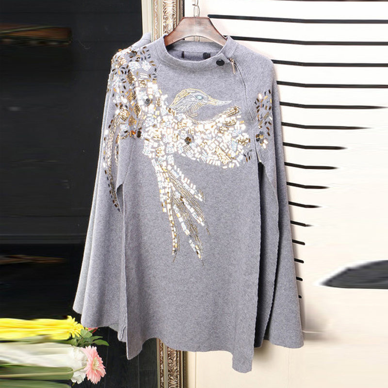 HIGH QUALITY Newest Fashion 2016 Runway Designer Sweater Womens Batwing Sleeve Bird Sequined Cape Pullover Sweater