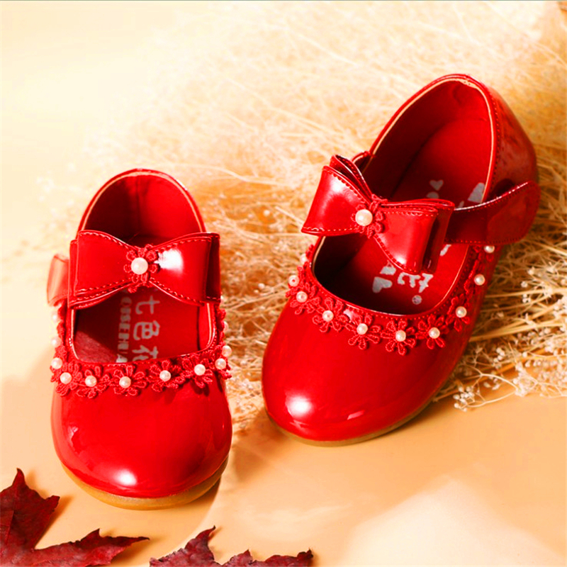 Party Girls Dress Banquet Baby Shoes New Fashion 2019 Baby Children Kids Girls Princess Leather Red Shoe Spring Autumn Size21~35