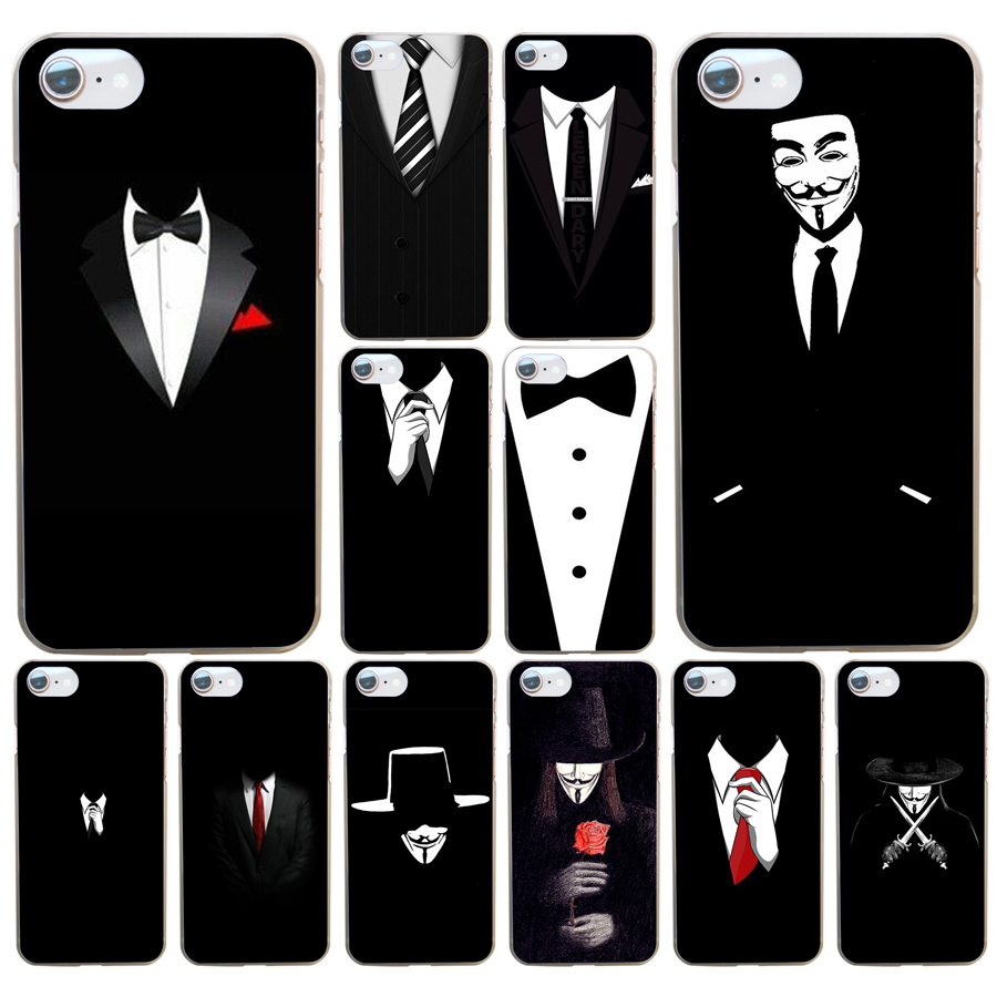 Transparent Cover Case For IPhone 4 7-Plus 5s Se 74DF 6 Dark-Suit Hard Mystery 4s 6s