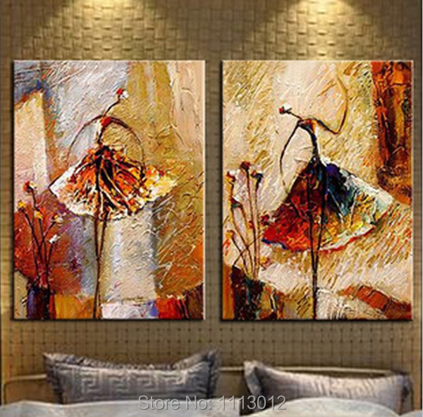 Fashion Ballet Angel Hand Painted Modern Abstract Oil Painting Art On Canvas Set 2 Panel Home Decoration Picture For Living Room
