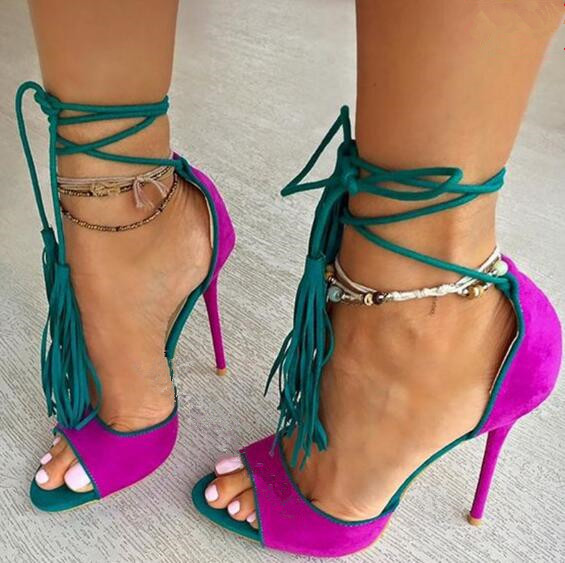 Yellow/purple ankle strap tassels high heel sandals peep toe ...