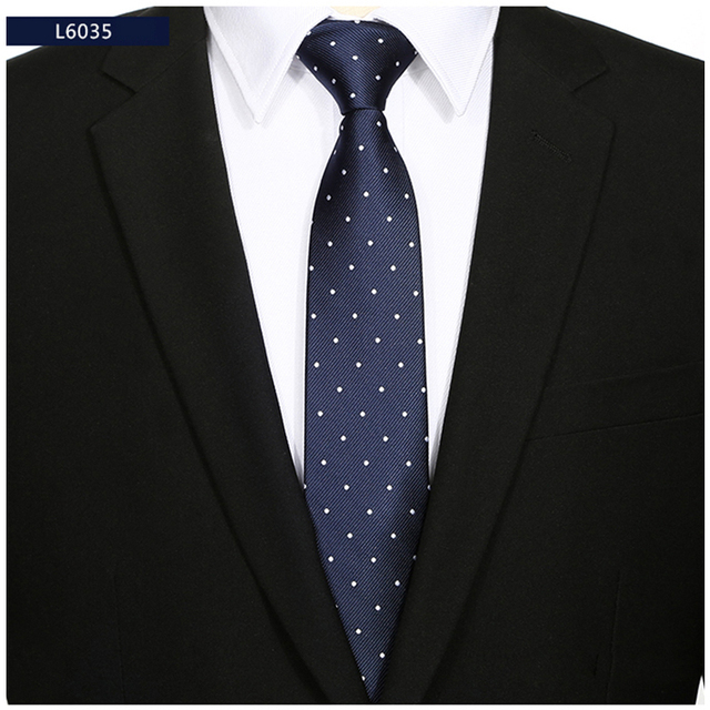 0ad037aa07bf High Quality Business Ties for Men 2017 New 6cm Slim Necktie Korean Fashion Navy  Blue and White Polka Dot Ties for Suit Gift Box