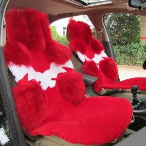 Image 2 - אוסטרלי טהור טבעי צמר מושב כיסוי עבור קדמי מושב חורף כרית מכונית באיכות גבוהה 100% אמיתי צמר כבש מושב מכסה