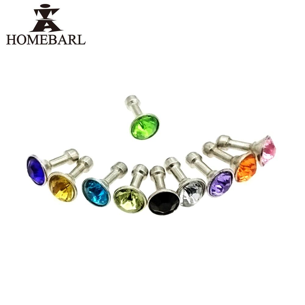Homebarl 10 unids diamond rhinestone 3.5mm enchufe del polvo del enchufe del aur