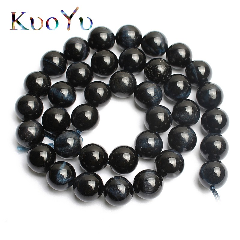 Trend Mark Wholesale Natural Dark Blue Tiger Eye Stone Beads High Quality Round Loose Bead 154/6/8/10/12mm Pick Size Diy Bracelet Necklace Beads & Jewelry Making