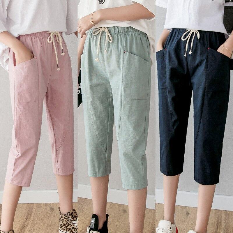 Cotton Linen Pants For Women Trousers Loose Casual Solid Color Women Harem Pants Plus Size Capri Women's Summer