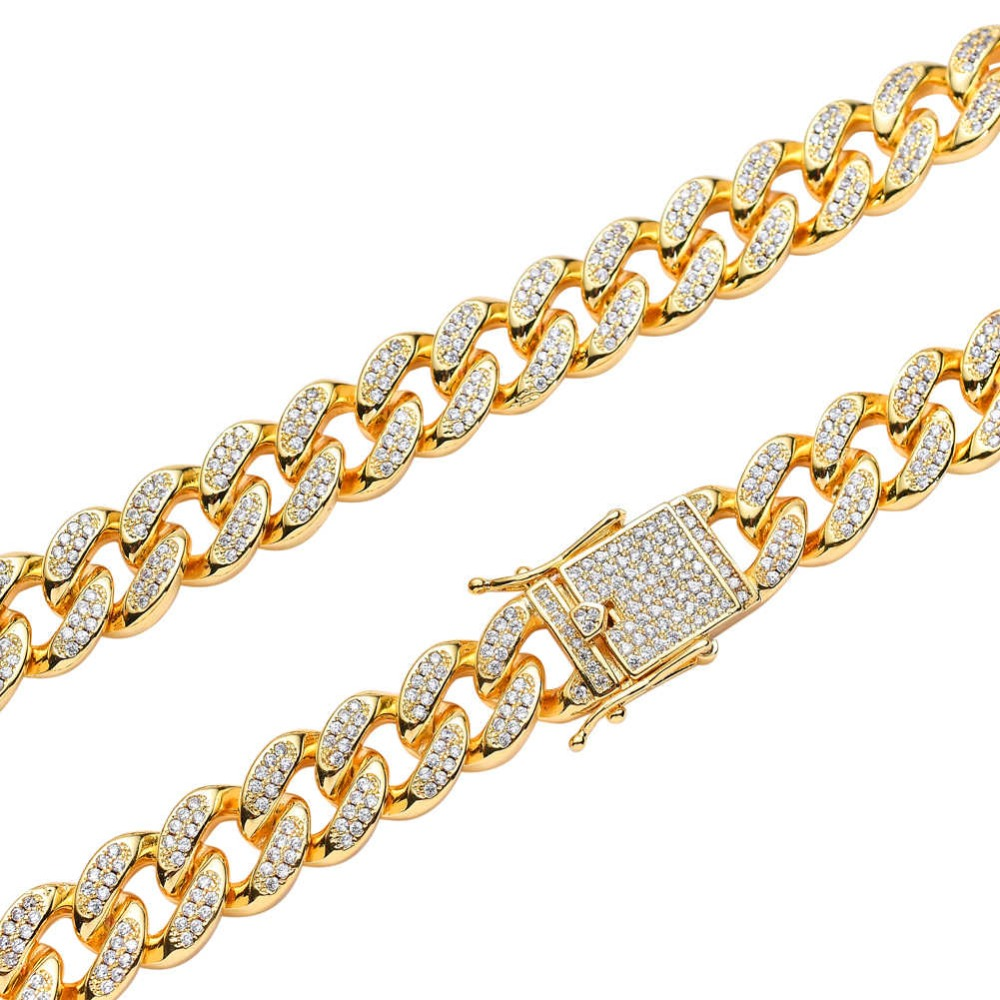 BNRESALE 12mm Luxury Copper AAA Zircon Hip Hop Full Iced Out Miami Cuban Chain Necklace Micro Pave Jewelry for Rappers