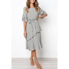 Summer Striped Printing Ruffled Dress Women O Neck Slim Holiday Dress Vintage Ladies Short Sleeve A-Line Dress