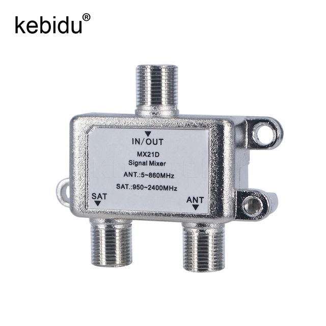 50pcs TV Signal Satellite Splitter 2 In 1 Dual-use 2 Way Port Sat Coaxial Diplexer Combiner Splitter Combiners Cable Switcher