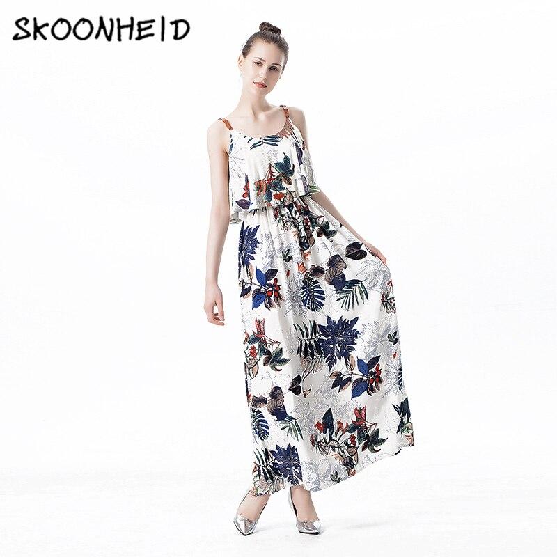 48d6923e89b Skoonheid Women Summer Maxi Dresses Ladies Boho Beach Dress Sleeveless  Spaghetti Strap Floral Print Vintage A Line Long Sundress