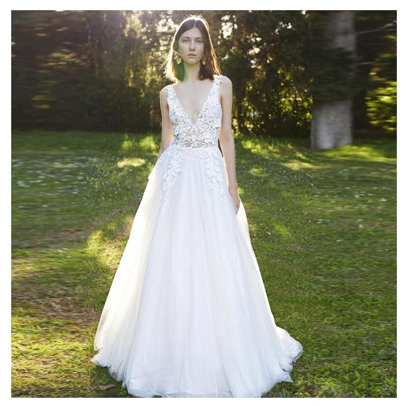 LORIE Ivory Princess Wedding Dresses Sexy Deep V Neck 2019