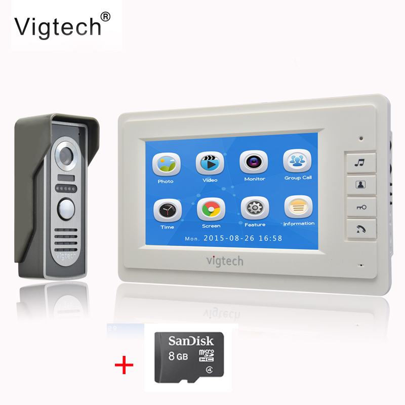 Vigtech7 inch LCD Video Doorbell Door phone Record Intercom System  Infrared Night Vision Camera 8GB TF Card FREE SHIPPING saful 7 inch lcd wired video door phone intercom waterproof night vision button electric lock control function free shipping