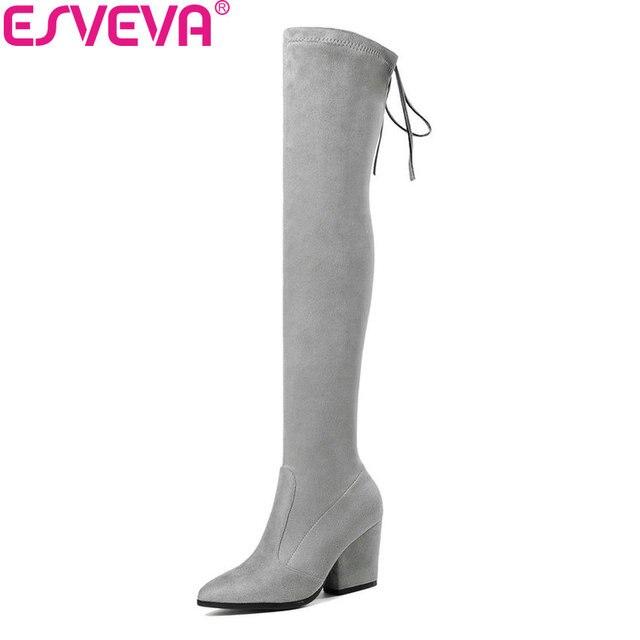 ESVEVA 2020 Kadın Botları Seksi Diz Üzerinde Çizmeler Streç Kumaşlar Sivri Burun Batı Tarzı Yüksek Topuklu Kadın Ayakkabı Boyutu 34-43