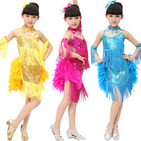 Sequins Kids MultiLayer Latin Dancewear costume Girls Tassel feather Ballet Latin samba Children's Dancing Dress