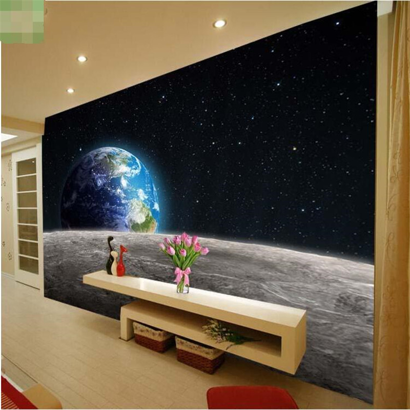 Beibehang Modern Photo Wallpaper Sky Earth 3D Universe The Moon TV Set Made By A Large Living Room Restaurant