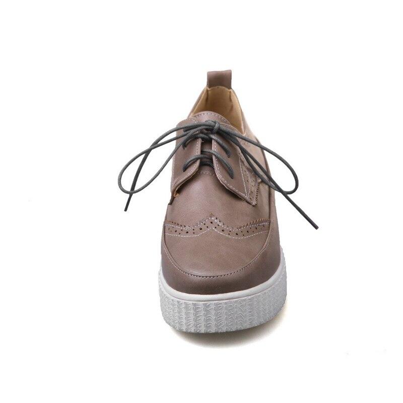Printemps blanc Chaussures De Femmes 43 Femme Grande Solide Taille Plat Casual Noir up Bout Croissante apricot Doratasia Rond Dentelle forme 34 Plate Sneakers Appartements g7w5ZZ