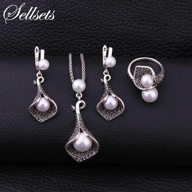 Sellsets Silver Color Copper Pave Full Black Crystal And Imitation Pearl Jewelry Set With Necklace Earrings Ring For Women Party