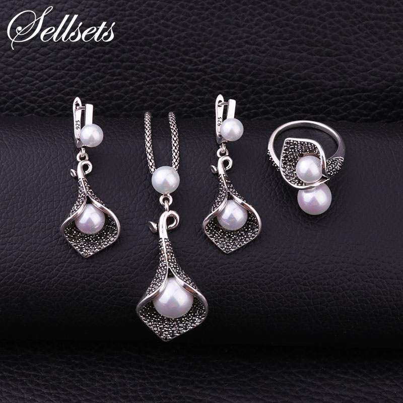 Sellsets Silver Color Copper Pave Full Black Crystal And Imitation Pearl Jewelry Set With Necklace Earrings Ring For Women Party sellsets vintage silver color teardrop earring pave full black cz rhinestone and imitation pearl drop earrings for wedding party