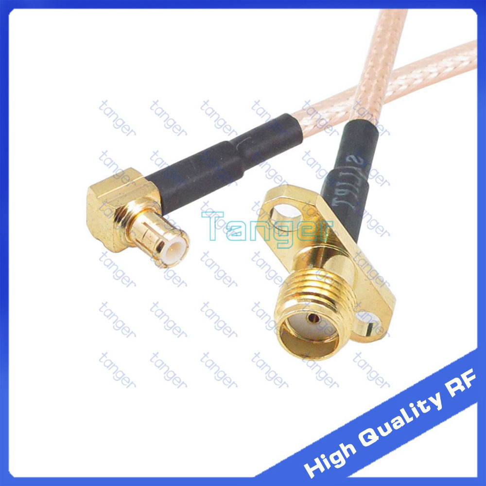 Mcx Male Right Angle To Sma Female 2 Hole Panle With 8inch 20cm 8 Tang Crimping 3 Rg316 Rg 316 Rf Coaxial Pigtail Jumper Low Loss Cable