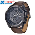 XINEW Fashion Luxury Cool Men's Watch Analog Sport Quartz Wrist Watch Steel Case Big Dial PU Leather Mens Wrist Watches Gift