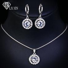 Женский комплект украшений lxoen набор с круглым синим кристаллом