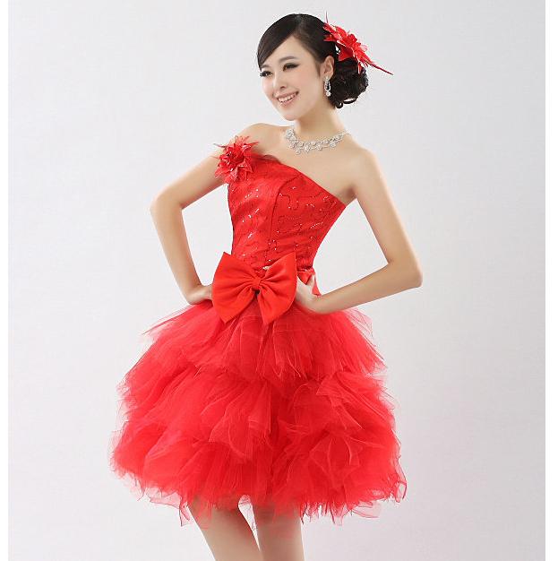 267085ee92 Mujer sin tirantes del partido dama vestido rojo barato del ...