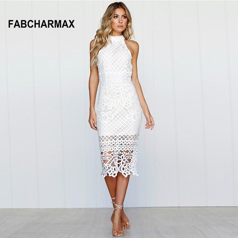 FABCHARMAX mujeres crochet hollow out patrones vestido de encaje ...