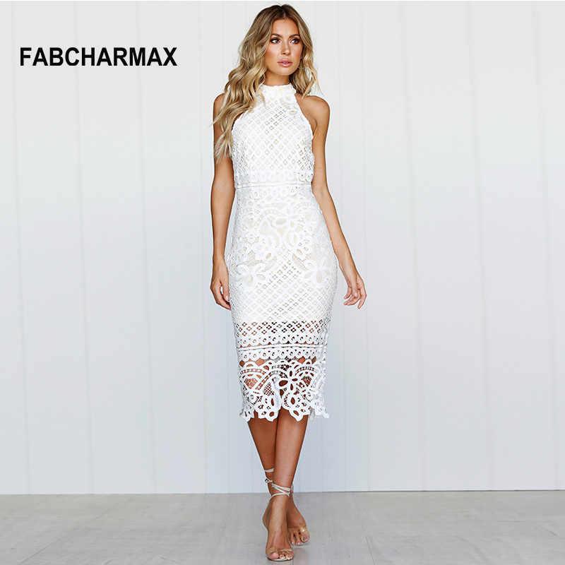 70c9879fff4b562 FABCHARMAX женщин крючком выдалбливают узоры белое кружевное платье Летнее  элегантное платье миди вырезами Халат без рукавов