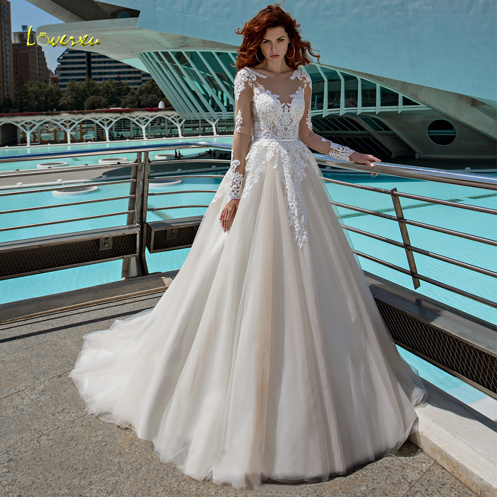 Loverxu Demure Scoop A Line Wedding Dress 2019 Chic Applique Long Sleeve Backless Bride Dress Chapel Train Bridal Gown Plus Size