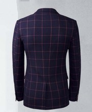 custom made Worsted Wool mes suits Slim plaid business suits men's three-piece groom wedding dress TNGQ01