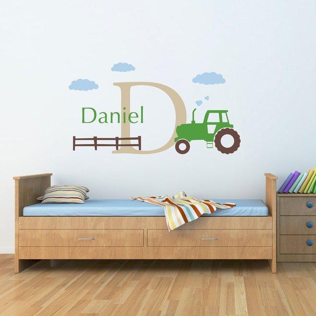C205 Grosse Traktor Wandtattoo Set Personalisierte Jungen Name Und