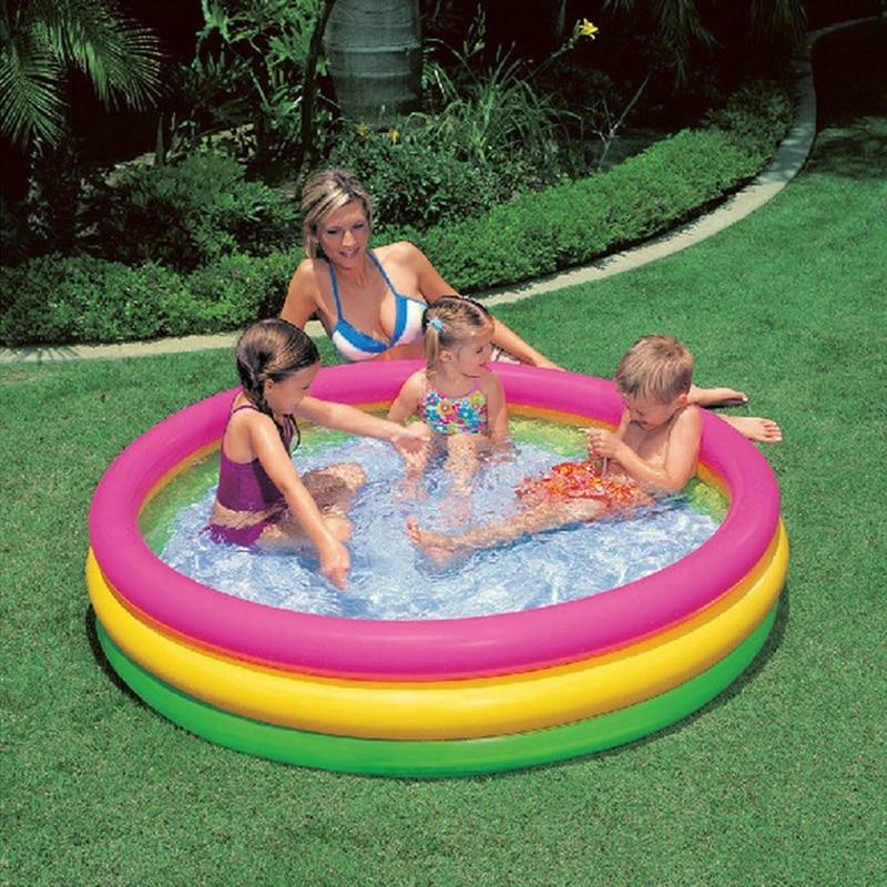 Piscine gonflable extérieure portative fluorescente de bébé de piscine de trois anneaux