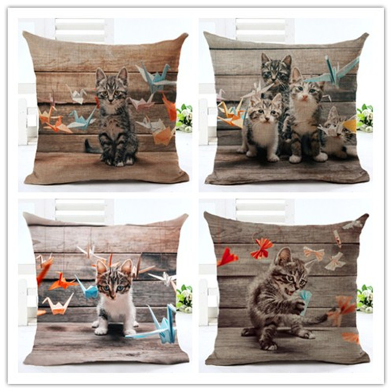 High Quality Car Printed Cotton Linen Blackout Curtain: Creative 3D Cartoon Cat Folding Paper Printed Cotton And