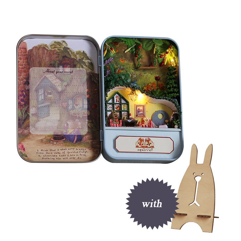 Box Theatre DIY Doll House Furniture Miniatura For Dollhouse Light House For Dolls Toys For Children Squirrels Paradise T004 E in Doll Houses from Toys Hobbies