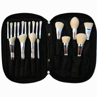 Professional 19pcs Makeup Brush Set Live Beauty Fully Silver Cosmetic Brushes Kit With Bag Face Eyes