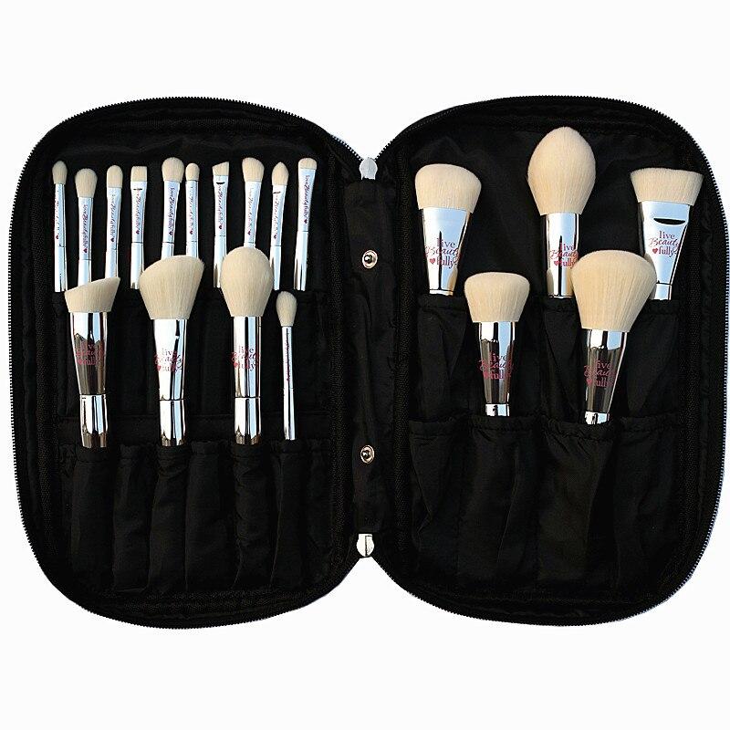 Profissional 19 pcs Pincel de Maquiagem Definir Escovas de Cosméticos Kit de Beleza Totalmente de Prata Ao Vivo com Saco Rosto Olhos Coleção de Maquiagem