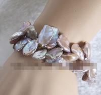 huij 001441 8 9 15mm Lavender Keshi 2Row Freshwater Pearl Bracelet Magnetic Clasp