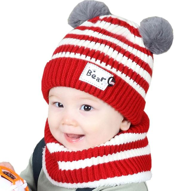 cf65dad7af1 Baby Hat Newborn Bonnet Autumn Winter Striped Double Ball Baby Cap + Ring Girl  Boy Cap